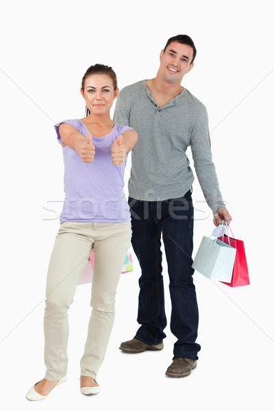 Young female abusing her boyfriend as drone against a white background Stock photo © wavebreak_media