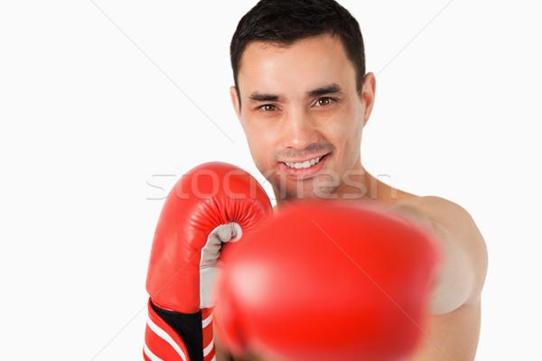 Sorridente boxeador punho branco esportes fundo Foto stock © wavebreak_media