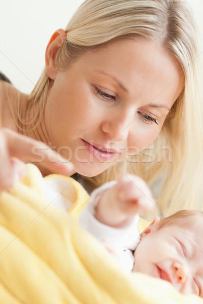 Stockfoto: Jonge · moeder · ontspannen · slapen · baby