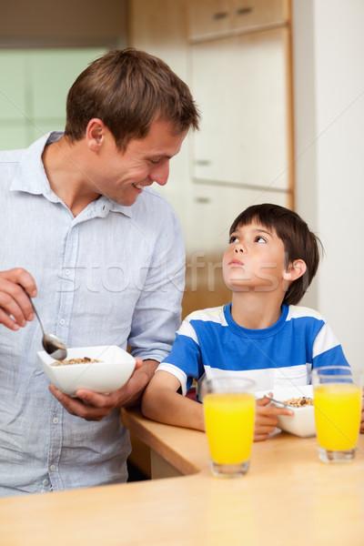 Stock fotó: Apa · fia · egészséges · reggeli · együtt · étel · konyha
