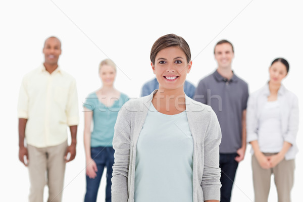 Uśmiechnięta kobieta ludzi za biały człowiek Zdjęcia stock © wavebreak_media