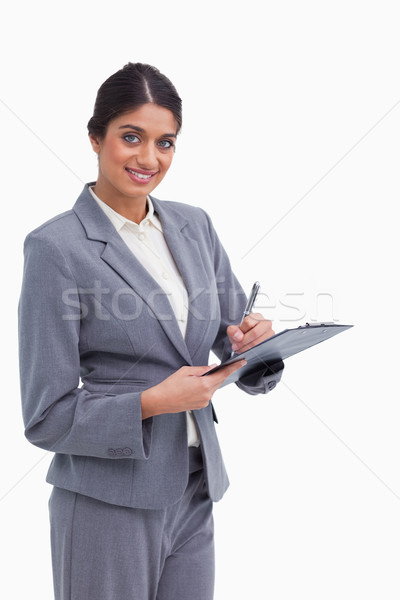 Glimlachend vrouwelijke ondernemer pen witte Stockfoto © wavebreak_media