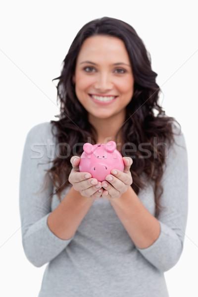Tinédzser jelentkezik alap ecset mosolyog smink Stock fotó © wavebreak_media