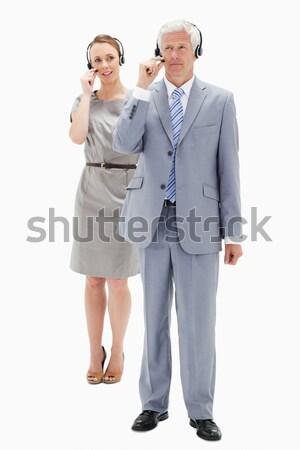 деловые люди улыбаясь рук заседание счастливым пару Сток-фото © wavebreak_media