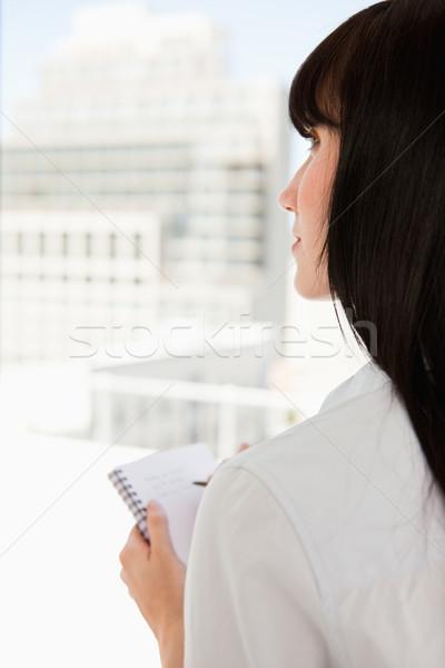 Stockfoto: Shot · vrouw · notepad · hand · business