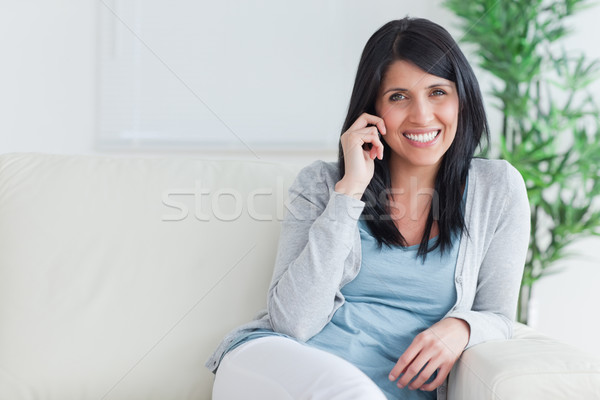 Woman talking on the phone while resting on a sofa in a living room Stock photo © wavebreak_media