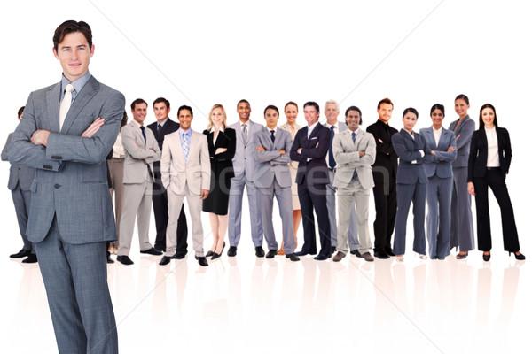 Foto stock: Empresario · armas · blanco · hombre · gente · de · negocios · equipo