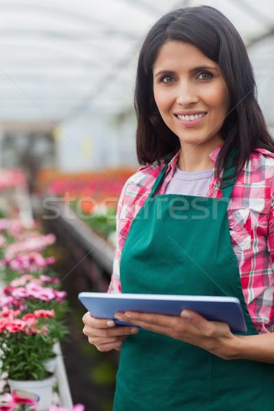 Femme inventaire portable travail effet de serre mains Photo stock © wavebreak_media