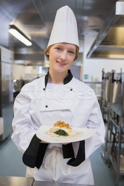 笑みを浮かべて シェフ 皿 キッチン 食品 ストックフォト © wavebreak_media