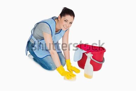 笑みを浮かべて 掃除婦 洗濯 階 白 手 ストックフォト © wavebreak_media