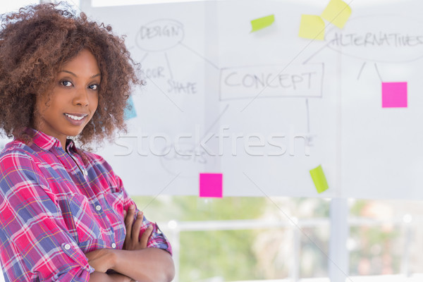 Happy woman with arms crossed in front of whiteboard Stock photo © wavebreak_media