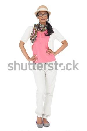 Portre serin genç kadın poz beyaz gözlük Stok fotoğraf © wavebreak_media