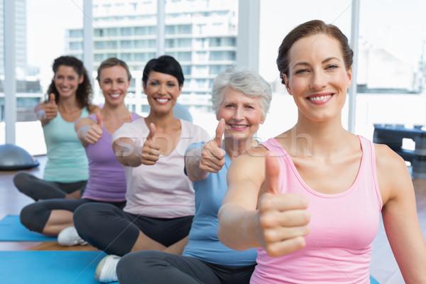 Photo stock: Femmes · yoga · classe · portrait