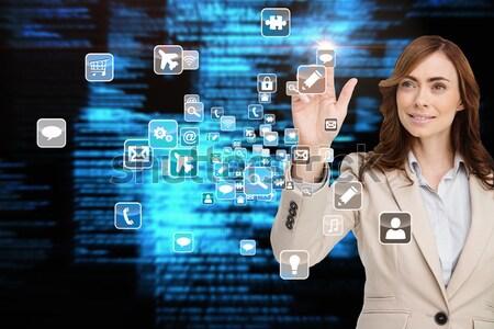 Mosolyog üzletasszony mutat app menü digitális kompozit Stock fotó © wavebreak_media