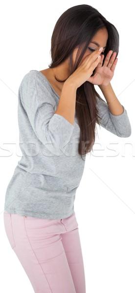 Csinos fiatal lezser barna hajú kiált fehér Stock fotó © wavebreak_media