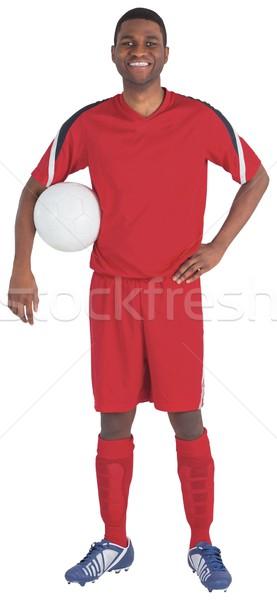 Сток-фото: красивый · футболист · красный · Футбол · футбола · Gear