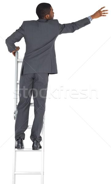 Сток-фото: бизнесмен · Постоянный · лестнице · белый · мужчины · карьеру