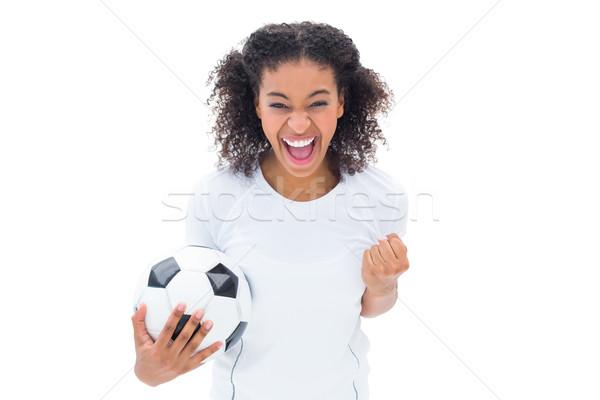 Güzel futbol fan beyaz kamera Stok fotoğraf © wavebreak_media