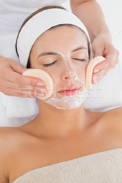 Main nettoyage visage coton spa centre Photo stock © wavebreak_media