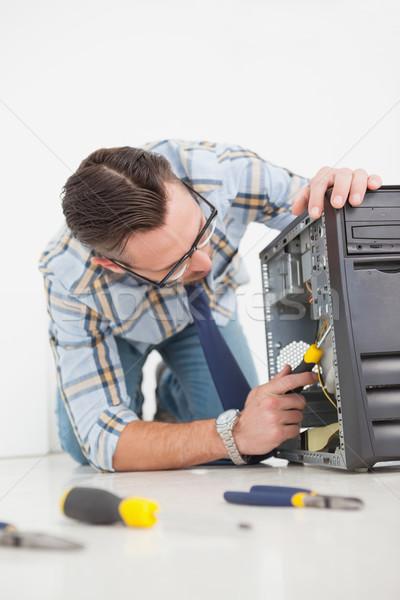 Computer ingenieur werken gebroken troosten schroevendraaier Stockfoto © wavebreak_media