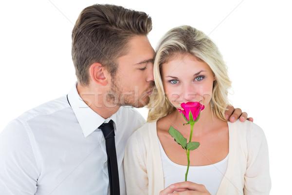 красивый мужчина целоваться подруга щека закрывается Сток-фото © wavebreak_media
