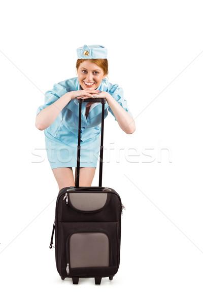 Bastante ar anfitriã sorridente câmera branco Foto stock © wavebreak_media