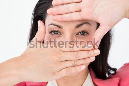 Man vriendinnen mond witte handen vrouwelijke Stockfoto © wavebreak_media