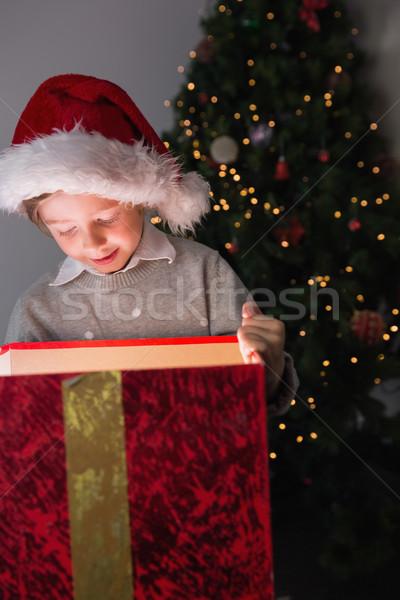 Enfant ouverture Noël présents arbre derrière Photo stock © wavebreak_media