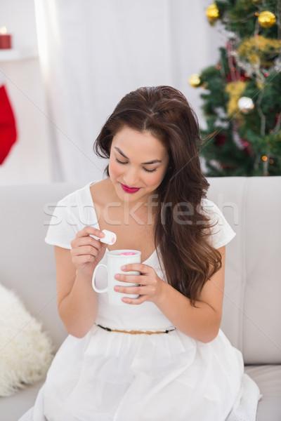 Barna hajú tart bögre mályvacukor karácsony otthon Stock fotó © wavebreak_media