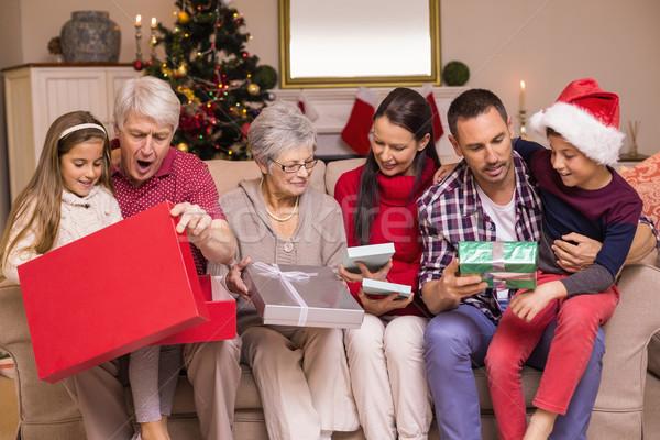 открытие подарки диван домой гостиной Сток-фото © wavebreak_media