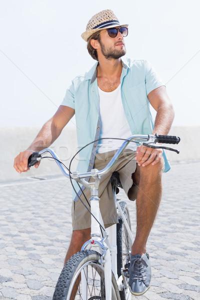 красивый мужчина велосипедов пирс счастливым лет Сток-фото © wavebreak_media