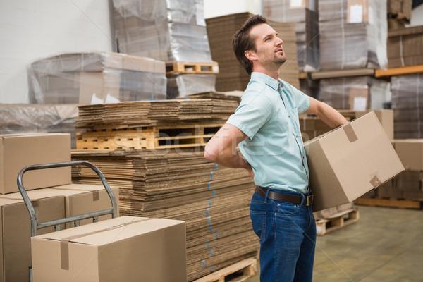 Trabalhador caixa armazém vista lateral negócio Foto stock © wavebreak_media