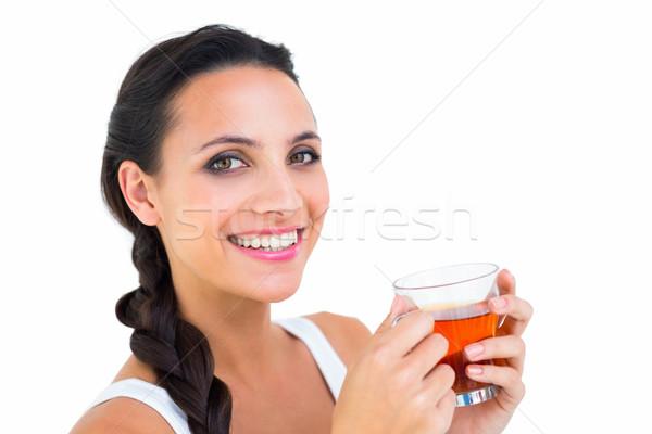 Mooie brunette beker thee witte gelukkig Stockfoto © wavebreak_media