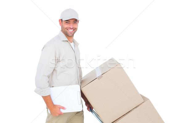 Stock foto: Schieben · Boxen · weiß · Porträt · glücklich