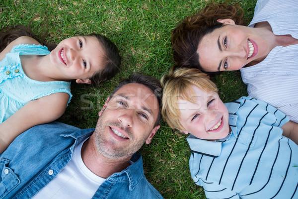 Boldog család park együtt napos idő lány fű Stock fotó © wavebreak_media