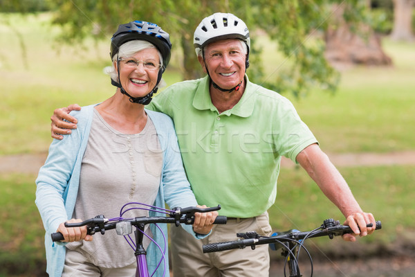 Happy senior couple on their bike Stock photo © wavebreak_media