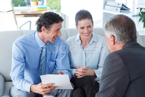 Paar vergadering financiële raadgever woonkamer business Stockfoto © wavebreak_media