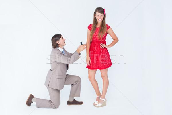 ヒップスター 膝 結婚 提案 ガールフレンド 白 ストックフォト © wavebreak_media