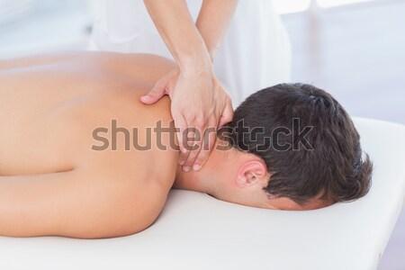 Nek massage patiënt medische kantoor vrouw Stockfoto © wavebreak_media