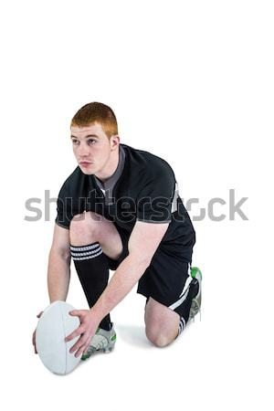 Rugby player ready to make a drop kick Stock photo © wavebreak_media