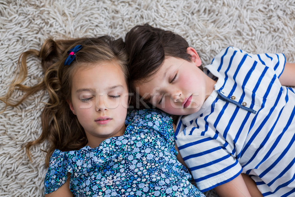 Siblings sleeping on rug in living room  Stock photo © wavebreak_media