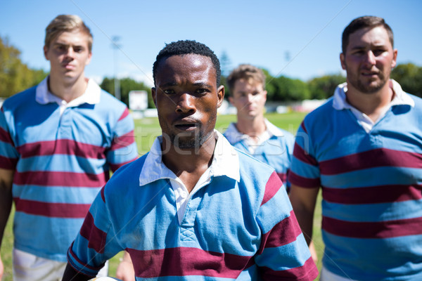 Portrait of confident rugby team standing on field Stock photo © wavebreak_media