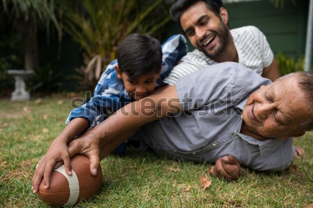 Player holding rugby ball on goal post line Stock photo © wavebreak_media