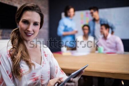 Retrato sonriendo colegial deberes biblioteca escuela Foto stock © wavebreak_media