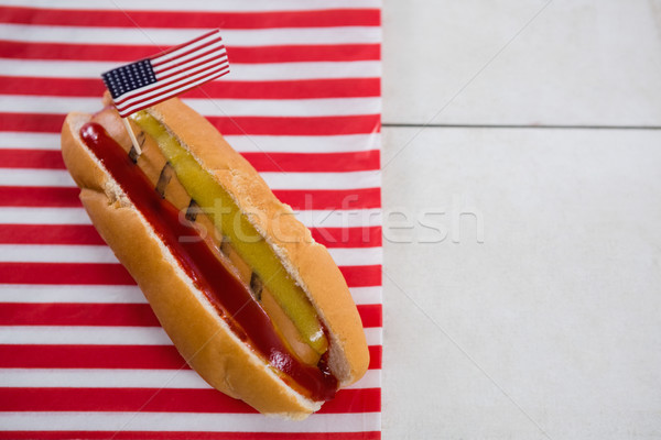 Amerikanische Flagge hot dog Holztisch Essen blau Stock foto © wavebreak_media