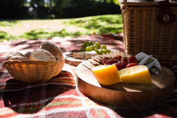 сыра печенье пикник одеяло любви Сток-фото © wavebreak_media