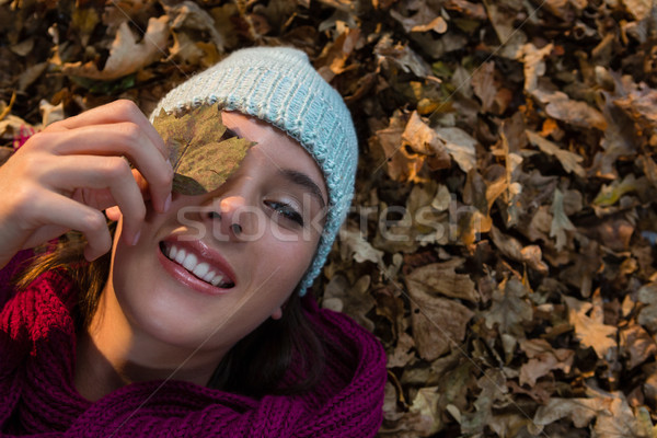 Directly above portrait of woman lying on dry leaves at park Stock photo © wavebreak_media