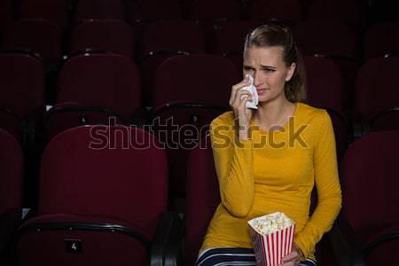 Genç kadın uyku film tiyatro kadın film Stok fotoğraf © wavebreak_media