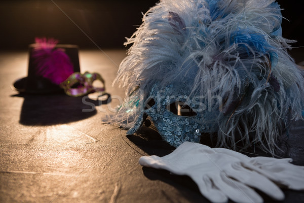 Masquerade masks, gloves and hat on stage Stock photo © wavebreak_media