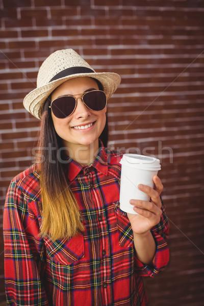 Hermosa desechable café rojo ladrillo Foto stock © wavebreak_media